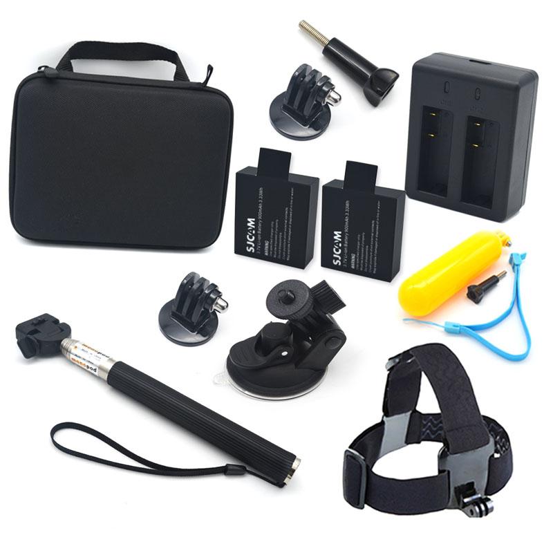 SJCAM Accessories 11 In 1 Family Kit SJCAM SJ4000 SJ5000 SJcam Battery With Dual Charger Monopod Car Suction Mount For Camera(China (Mainland))