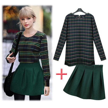 Factory outlets 2015 new winter temperament leisure suit crop top and skirt skirt and blouse sets office dress jacket + skirts(China (Mainland))