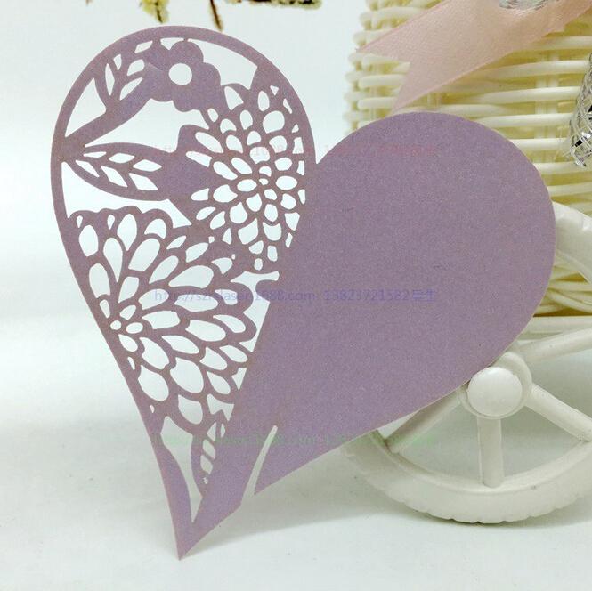 Laser Cut Heart Shaped Light Purple Place Card Escort Card Name Cup Card Wedding Decorations Festival Favor Bookmark 200pcs B73(China (Mainland))