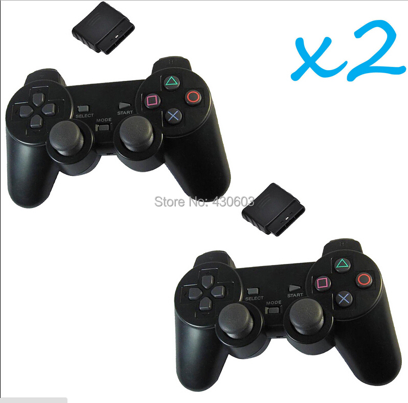 2pcs 2X New Black Wireless Shock Game Controller for Sony PS2 wireless controller Free Shipping()