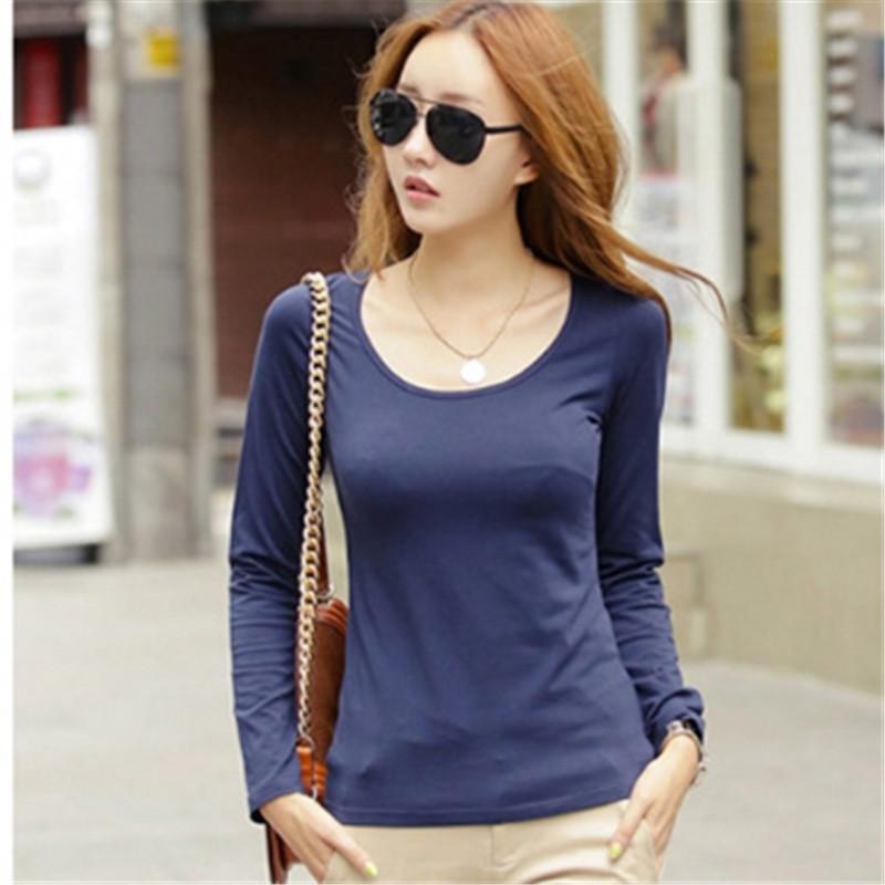 Women's Long Sleeve T-shirt Thin Slim Bottom Plus Plush Inside Woman Tops Shirts 14 Solid Colors C25Y11(China (Mainland))