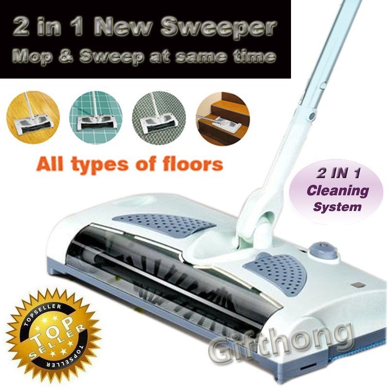 2 in 1 Cordless Electric Sweeper And Mop Rechargeable Battery Rotary Rod 360 Degree For Carpet Floor Tiles Hard Wood(China (Mainland))