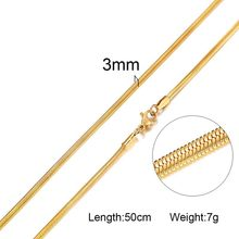 """Standard Chain Stainless Steel Link In Silver Rose Gold Color Snake Chains Necklace For Women Hombre Thin Jewelry 20""""(China)"""