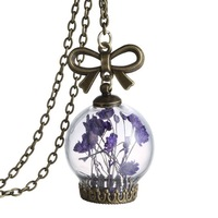 2016 Retro Herbarium Glass Bottle Pendant Necklace