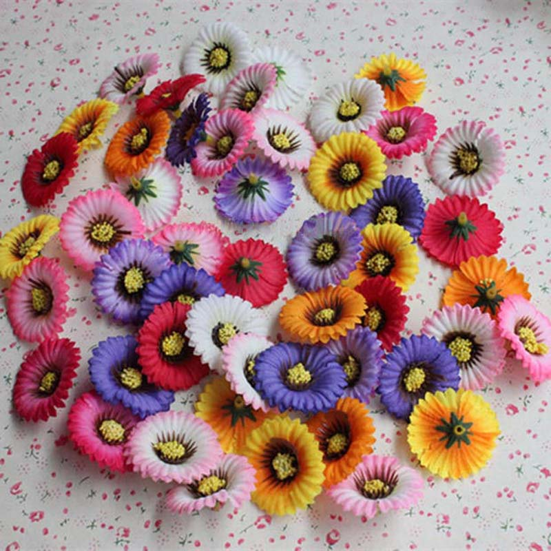 100PCS,3.5CM Head,Multicolor Mini Fake Fabric Daisy,Artificial Silk Sunflower Heads,Wedding Party Decoration,Home Decor,Garland(China (Mainland))