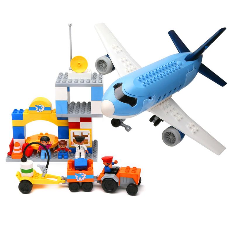 Airport Airplane Big Block Large Particle Building BlocksBuilding Brick Model Assembling Toy Compatible with Legoe Duplo(China (Mainland))