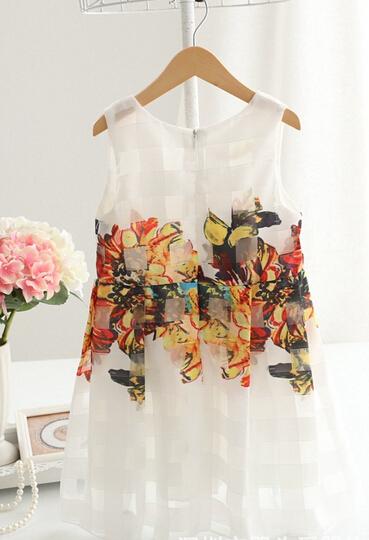 EMS DHL 2015 New Korean Summer Baby Girls Child Kids Party Princess Birthday Flower Print Pleated White Cotton Dresses S0140234<br><br>Aliexpress
