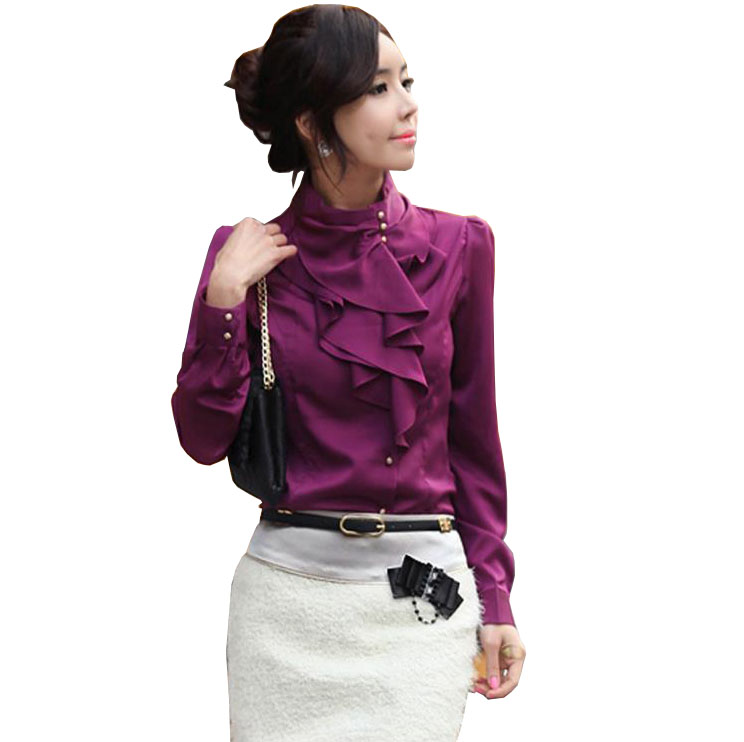 Stand Collar Blouse Designs Images : Korean style fashion women work wear long puff sleeve