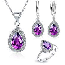 Elegante 925 Sterling Silber Original Hochzeit Schmuck Set Wasser Tropfen Anhänger Halskette Ohrringe Ringe AAA Zirkon Größe 6 7 8 9(China)