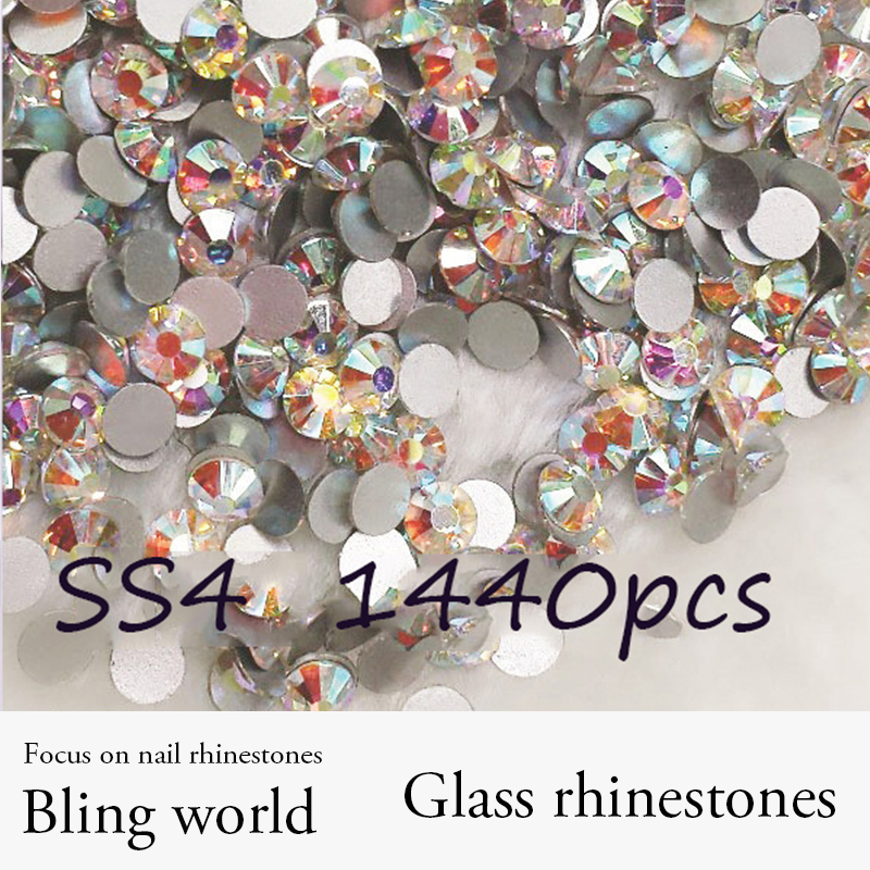 Promation! Glass Rhinestones 1440pcs SS4 Crystal AB Nail Art Rhinestones For Nails Decoration Cell Phone And DIY Design