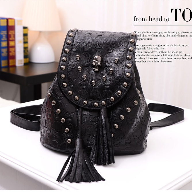 Fashion Women's Packsack Punk style Cool Backpack,Gun Color Skull Rivets Tassel Bags,PU leather Rucksack Girl's Knapsack,SJ076 - Hakka Store store