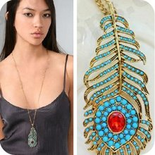 Free Shipping 10pcs/lot Hot Vintage Alloy Turquoise Stone Peacock Feather Necklace Pendant Jewelry Coat Chain Long Necklace(China (Mainland))