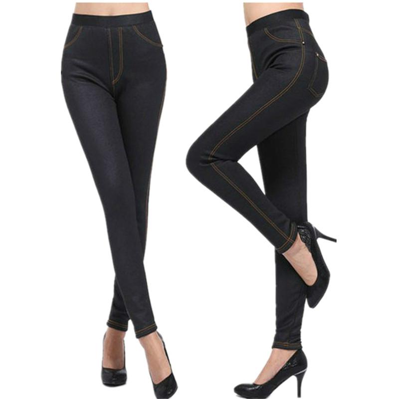 Jeans Leggings For Women Fleece Inside Warm Leggins Skinny Trousers With Pockets Female Winter Velvet Legging Pants DDK-0105-s(China (Mainland))