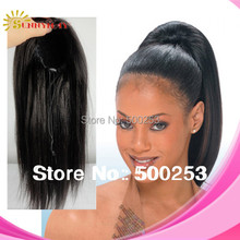 Natural Color Black Yaki Straight 100% Virgin Brazilian Human Hair Drawstring Ponytail In Stock(China (Mainland))