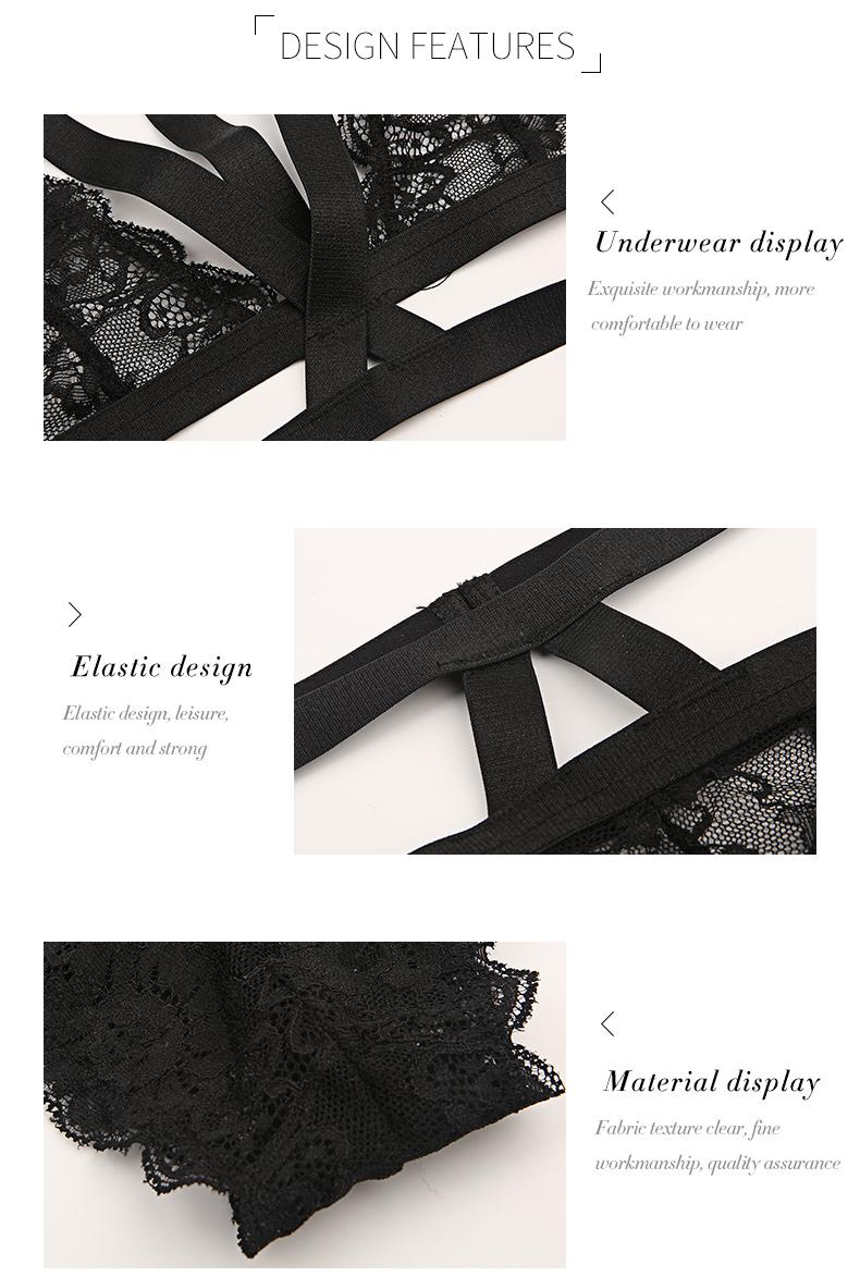 Women Black Choker Lace Bra and Panties Set