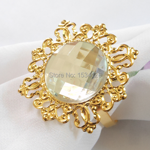 Free Shipping 50pcs Gold Clears Gem Vintage Style Silver Napkin Rings Wedding Bridal Shower