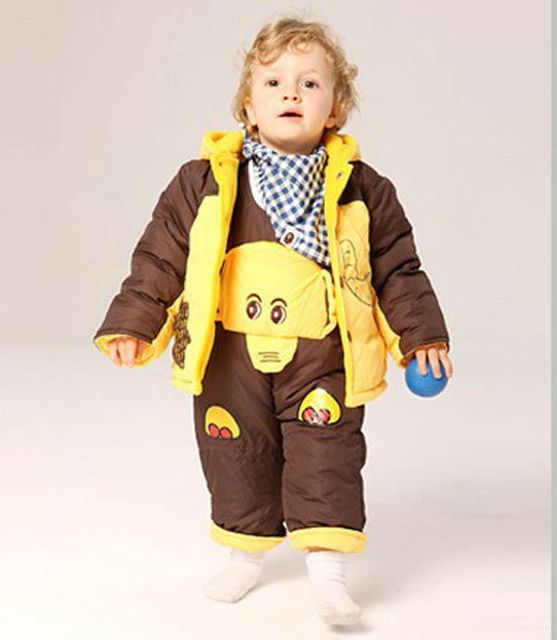 free shipping  Baby winter suit +pant elephant clothing boy fur clothing suit winter clothing set