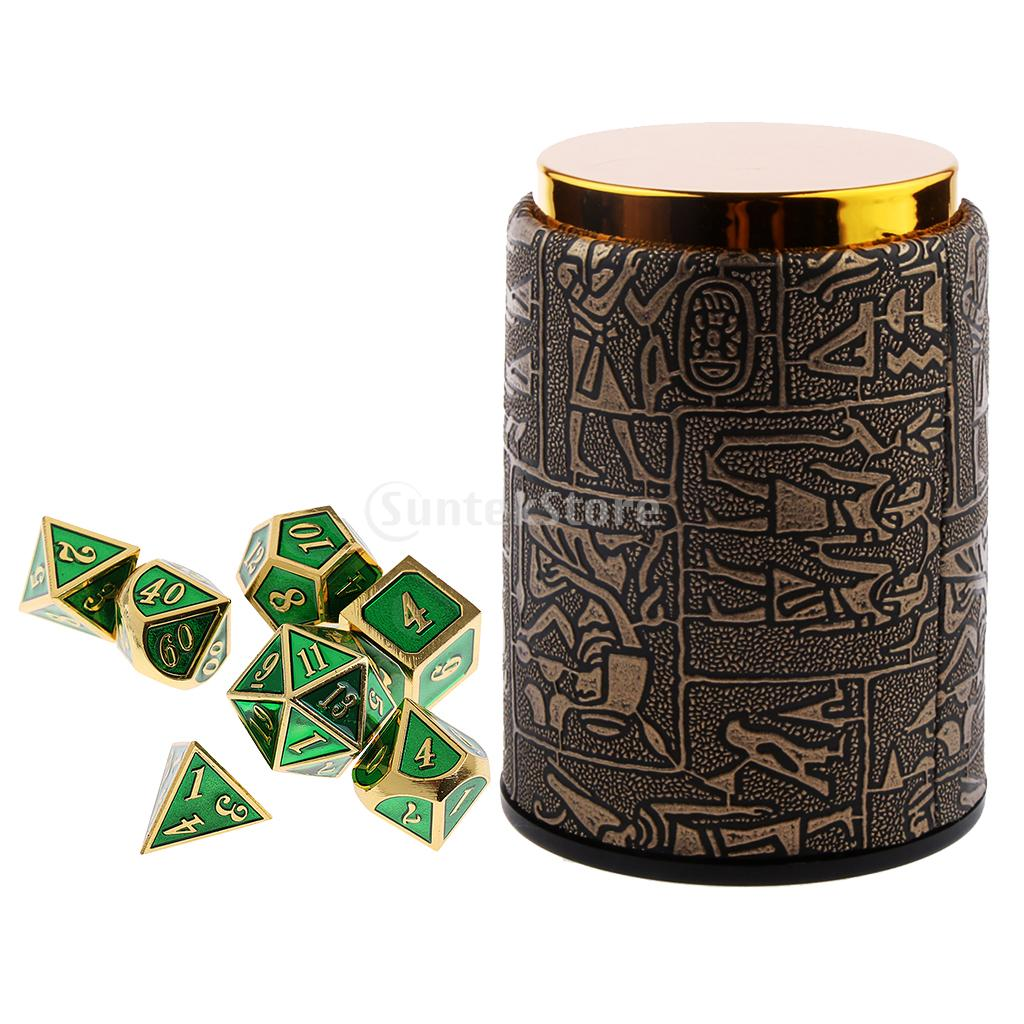 7 pieces Metal Polyhedral Dice for Dungeons & Dragons Dice Table Games RPG MTG Dice+Dice Cup