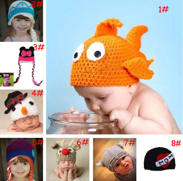 Retail Gold Fish Baby Photo Props Crochet BABY HATS Animal Design Baby Winter Hats Crochet Photo Props 1pc MZS-036(China (Mainland))