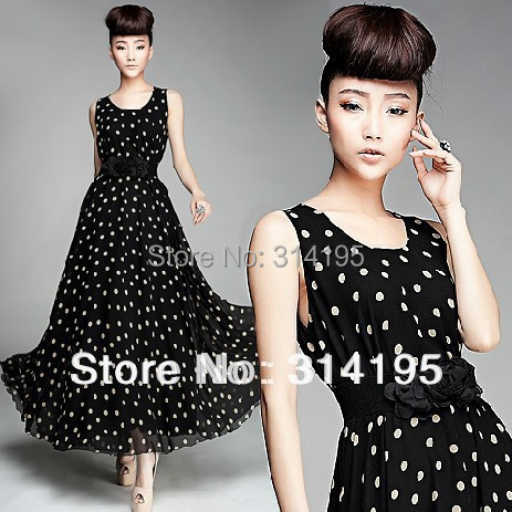 Free/Drop Shipping 2014 new arrive summer chiffon long dress Large size (S M L,XL) black white Dot o-neck tank free with belt