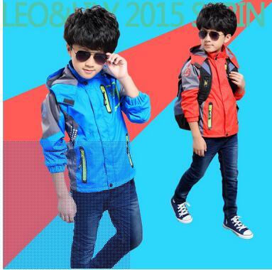 2016 Spring Autumn Big Boys Outdoor Jacket Breathable Waterproof Windbreaker Jackets Kids Sports Wear 6-16 Years Old(China (Mainland))