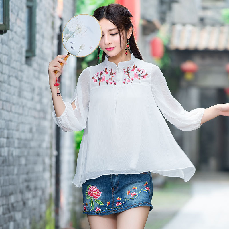 Chinese Style Womens Chiffon Blouse Embroidery Ethnic Tops White Plus Size Casual Shirt 2017 Women Clothes AWT165001