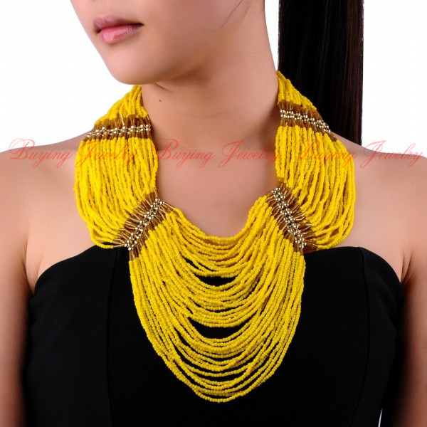 2014 Summer Brand New Unique Handmade Bead Design 45 Layers 12 Colors Resin Beads Chain Chunky Choker Bib 50cm Necklace - Buying Jewelry( store)