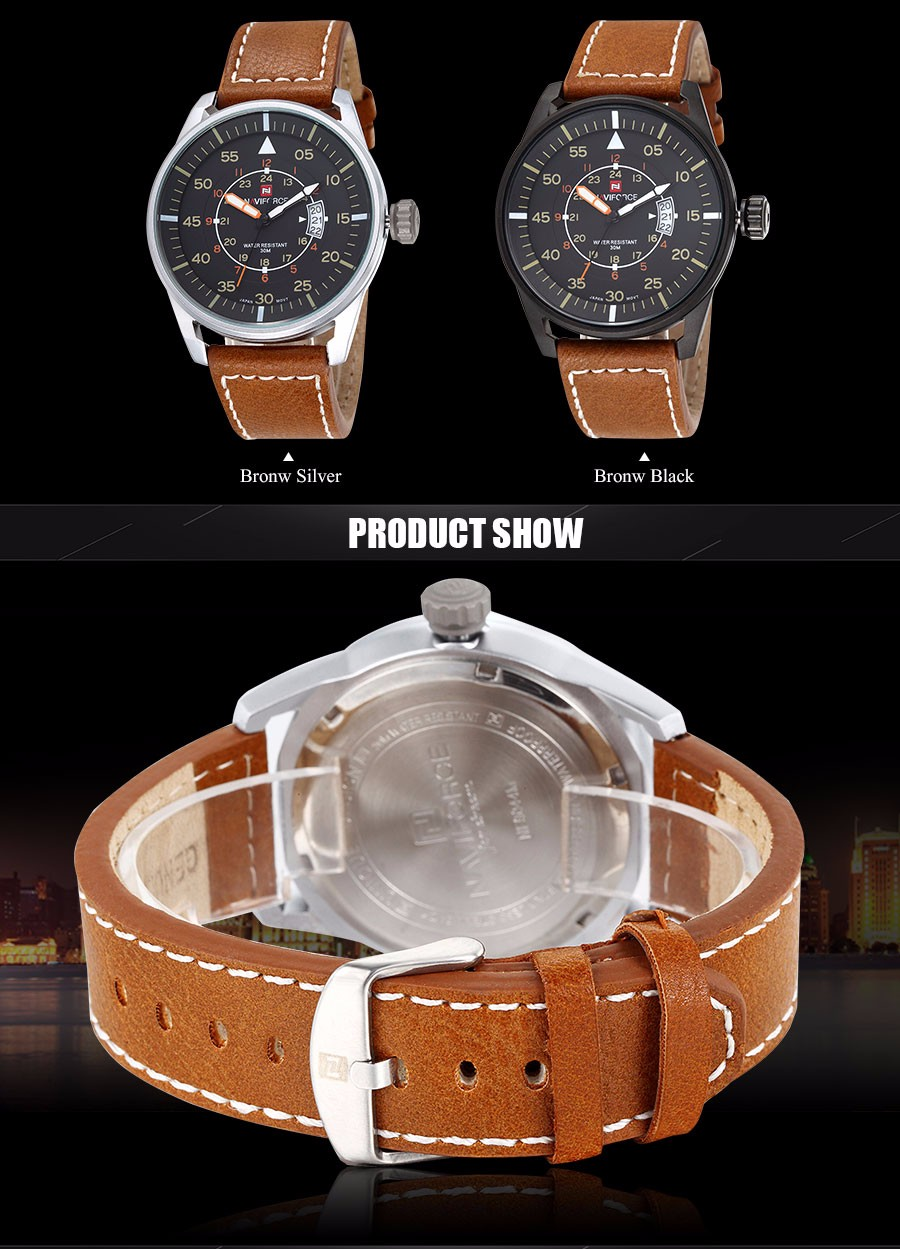 2016 NAVIFORCE Новые часы мужчины luxury brand мода повседневная военная Спортивные часы 3ATM водонепроницаемый Аналоговые кварцевые Часы
