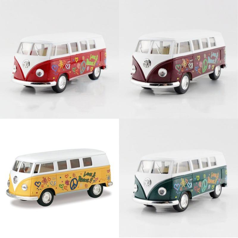 4in1 Kinsmart 1962 VW T1 Bus Love&Peace1/32 alloy models model car back T1 VAN pull back car children's toys car Kids toy(China (Mainland))