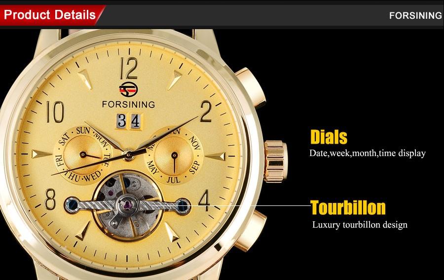 FORSINING марка мужчины мода спорт механическая турбийон часы люкс мужская автоматическая скелет золотые часы relógio masculino