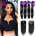 8A Malaysian Straight Hair 4 Bundles With Closure 100 Human Hair Weaves With Lace Closure Malaysian