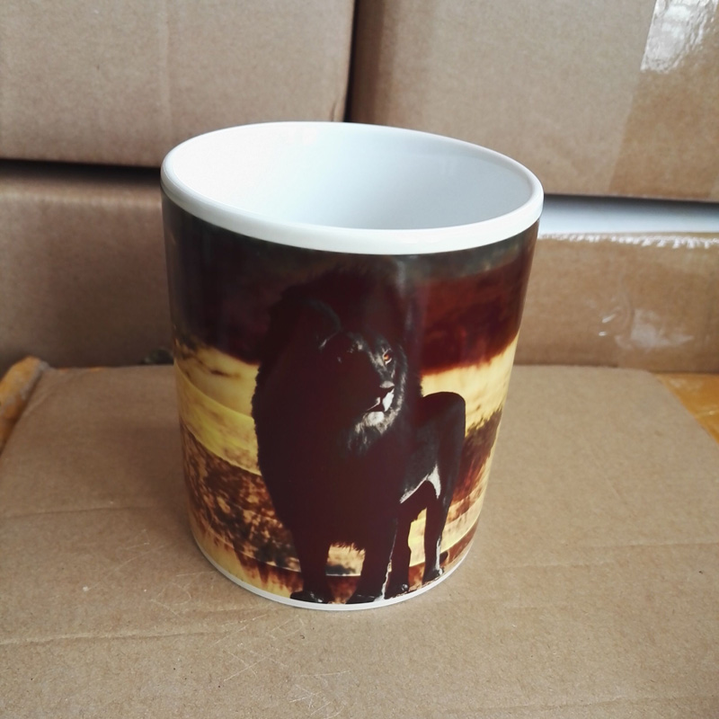 11OZ Magic Ceramic Mug Heat Sensitive Color Change Coffee Tea Mug Cup Printing with Black Lion picture(China (Mainland))