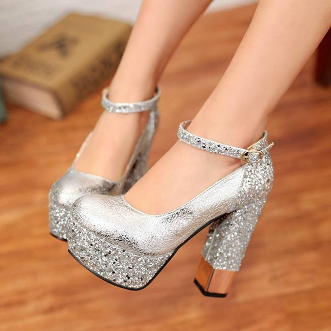 Silver Thick Heel Shoes