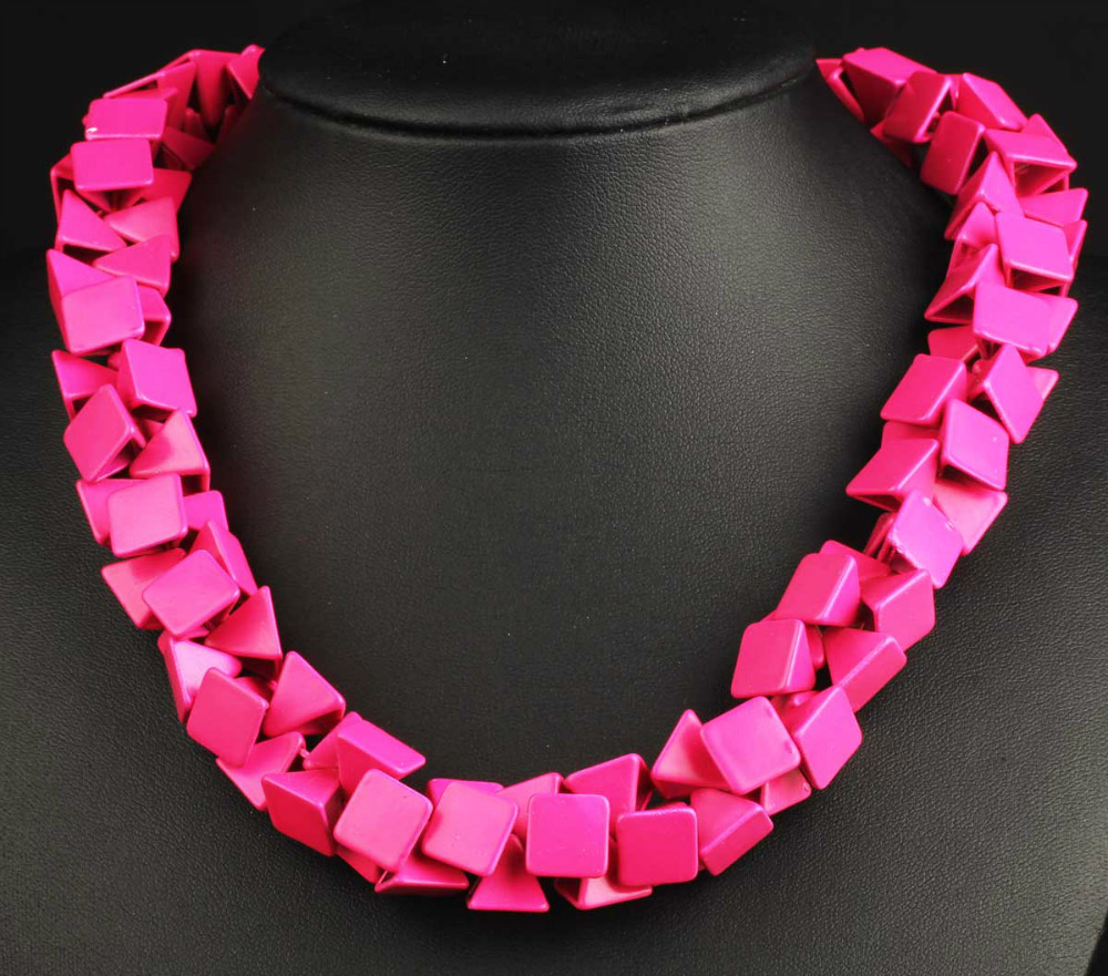 Newest Gorgeous Fashion Necklace Jewelry Hot Pink Department bib Statement Women Choker Necklaces & Pendants Q689-90(China (Mainland))