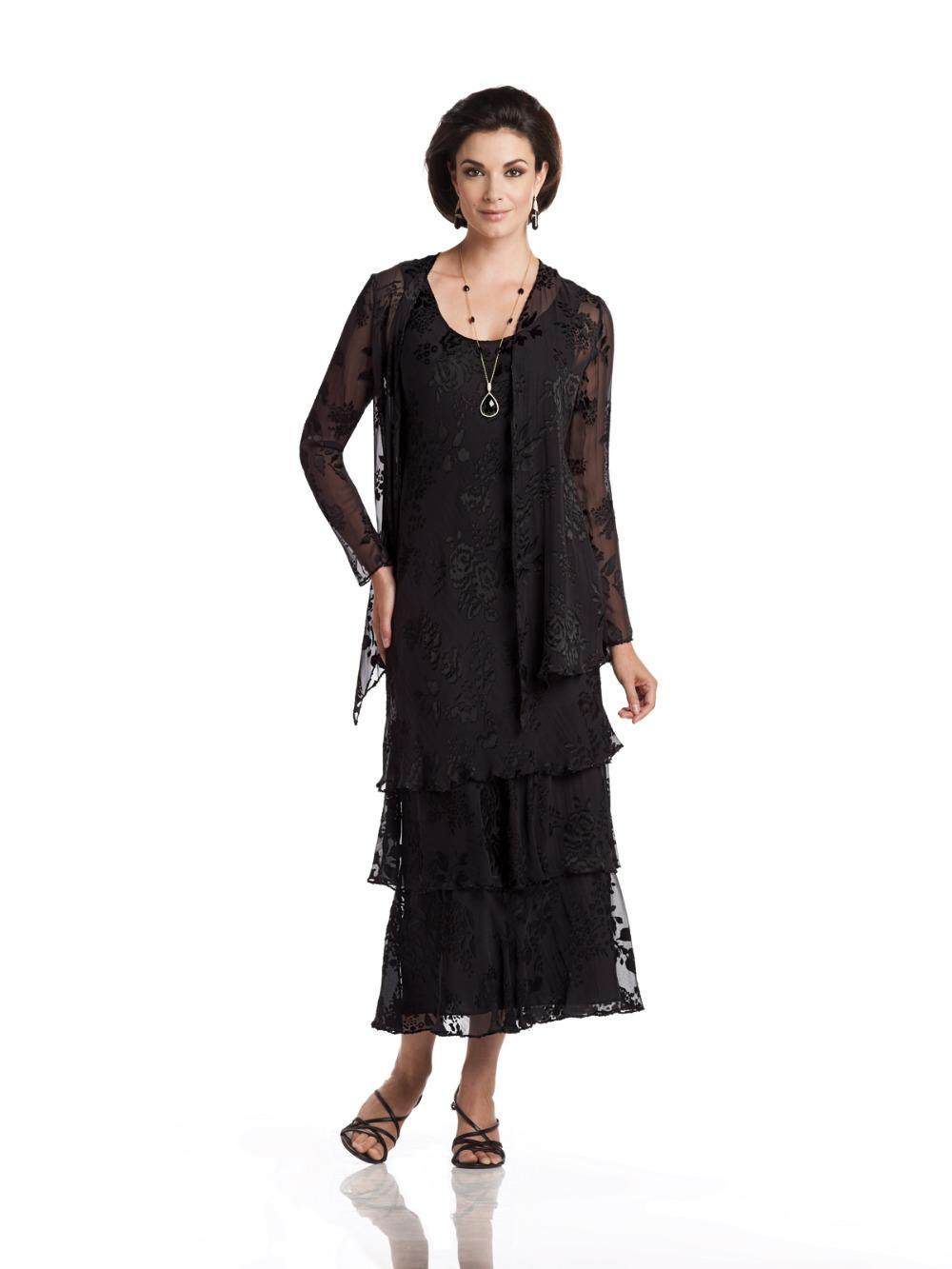 Tea Length Mother of the Bride Gown Long Sleeve Robe Mere De La Mariee ...