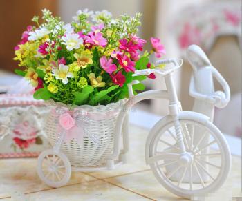 silk rose artificial flowers plastic rattan bike vase wedding home table decoration gift flores y guirnaldas decorativas - Desun Home Decor store