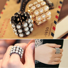 JZ127 beautiful delicate small pearl elastic ring finger ring female(China (Mainland))