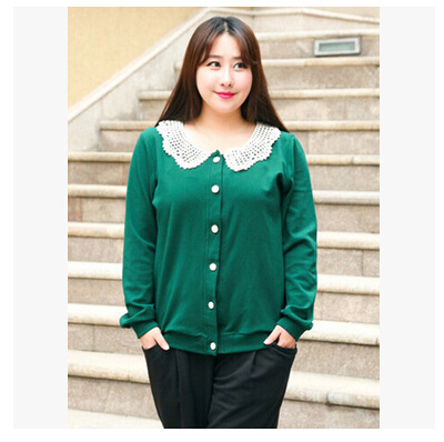 Weight 150kg!Plus size xl- xxxxl women 2016 spring autumn cardigan coat woman cotton crochet peter pan collar jacket  -  Mary Fashion Large Size Clothing Store ( S-10XL store)
