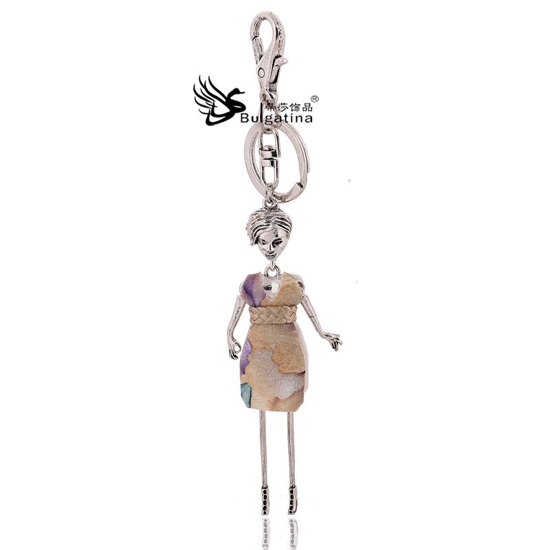 Doll keychains fashion key holder silver plated figure leather dress keyring lovely key chain woman bag charm key rings souvenir(China (Mainland))