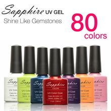 1PCS Newest 80 colors Fashion Sapphire Nail Gel Nail Art Tools UV Gel Polish 7.3 ML Soak Off Gel Polish for nail makeup(China (Mainland))