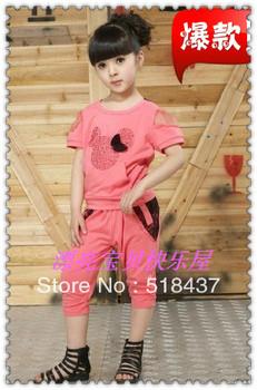 dress Child kids suit set children garments clothing lace bowknot princess summer short-sleeve suit set children's clothing