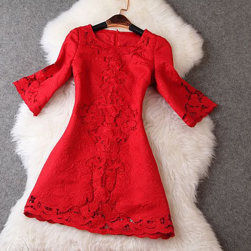 S-4XL 2015 new runway Brand plus size red color flare sleeve embroidery hollow out jacquard dobby women's one piece dresses 2175(China (Mainland))