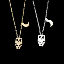 30pcs/lot 2016 Fashion Stainless Steel Bijuteria Crescent Moon With Owl Pendant Necklaces for Girlfriend Wedding Bands(China (Mainland))