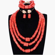Afrikanische Hochzeit Schmuck Sets Natur Korallen Nigerian Perlen Braut Schmuck Set für Frauen Freies Schiff 2018 Große Design Halskette Set(China)