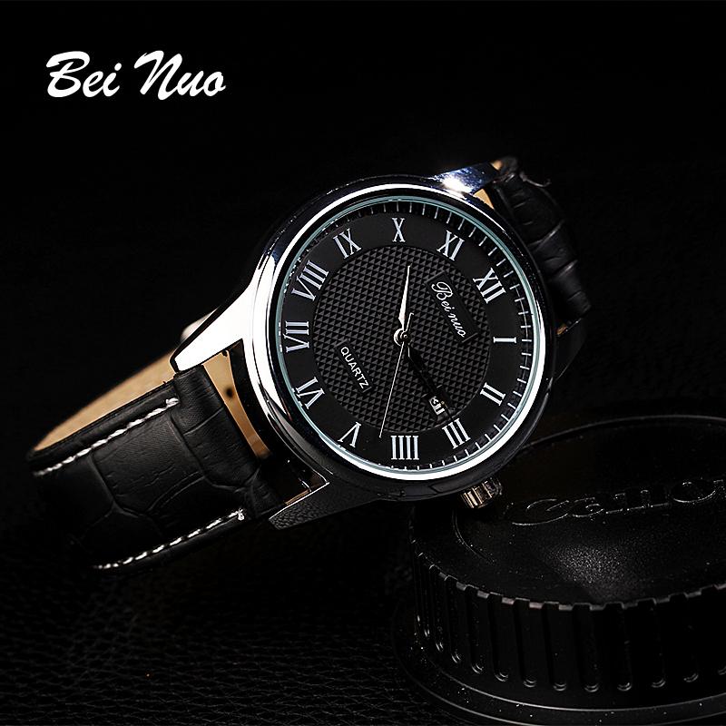 Beinuo топ новое прибытия 2015 пу кожаный ремешок мужчин спортивные наручные часы мужчины Montre Homme Marcas Famosas часы XR597