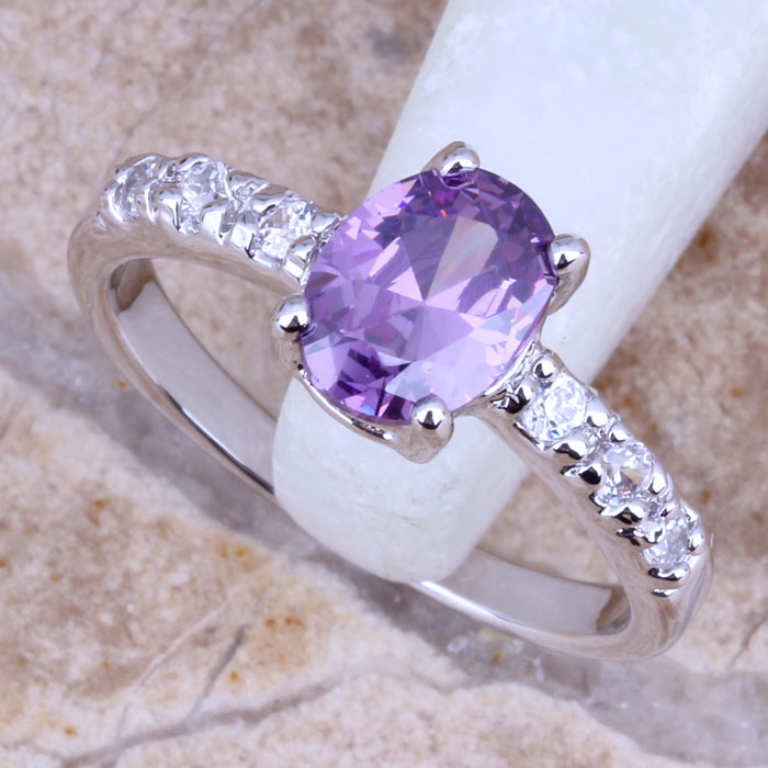 Good Purple Amethyst White Topaz Silver Plated Stamped 925 Fashion Fine Jewelry Ring Size 6 / 7 8 9 Free Gift Bag R0079 - jewelry1688 store