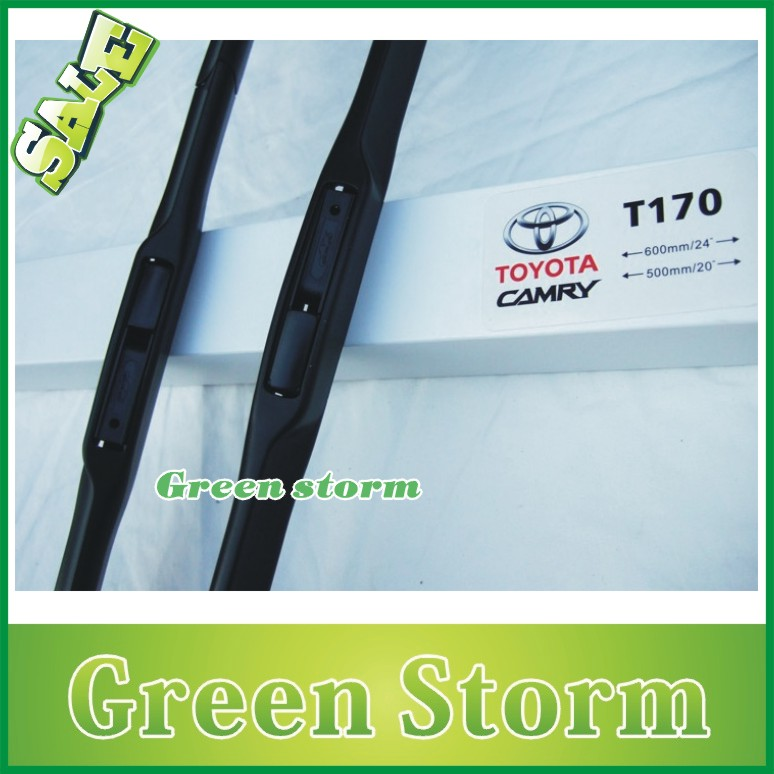 (2pcs/Pair) car wiper blades(windscreen wiper) Toyota Camry soft silicone Rubber WindShield Wiper Blade - Green Storm Automobile Products co., LTD store