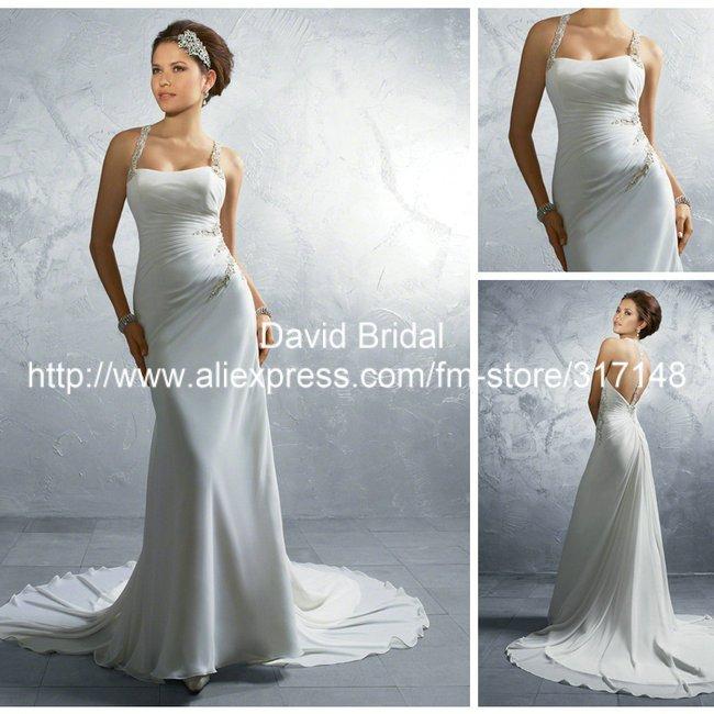 Beaded Sexy Backless Chiffon Wedding Dresses Halter Top ... - photo #35
