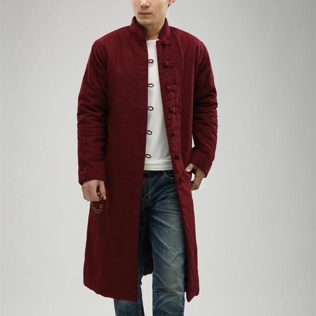Влюбленных одежда 2016 мужская плащ для мужчин зиму куртка хлопок-ватник традиционные китайские ткани Erkek мон Gabardina