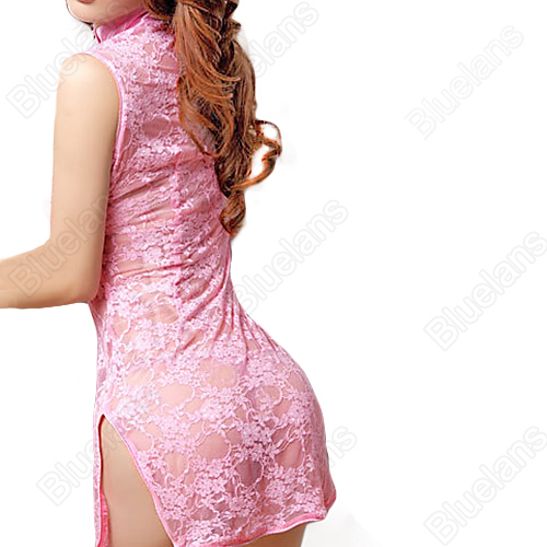 2016 New Sexy Cheongsam Lace Women s Lingerie Transparent Underwear Nightdress Nightwear Sleepwear G String Set